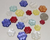 19 Flower Buttons Yellow, Red, Orange, White, Purple, Blue, Craft, Sewing buttons (AN 25)