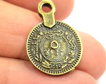 10 Antique Bronze Charms Ottoman Coin Signature Charms (17mm) G6648