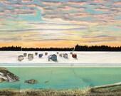 Minnesota Art, Ice Fishing Art Print, Fish Art, Man Cave Art, Cabin Decor, State of the Art Ice Fishing Giclee Print by Artist Amy Kulseth