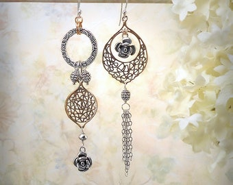 Moroccan Rose Asymmetrical Earrings Strerling Silver Solid Bronze Filigree Mixed Metals Dangle Exotic Boho Gypsy Earrings Festival Jewelry