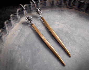 Sleek Bronze Spike Earrings Long Gold Dagger Earrings Rustic Chic Minimalist Spear Earrings Sterling Silver Flower Mixed Metals Gold Shard