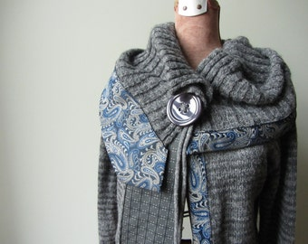 Gray Cardigan with Oversized Collar, Upcycled Sweater, Open Front Cardigan, Repurposed Neckties, Grey Sweater, Repurposed Clothing