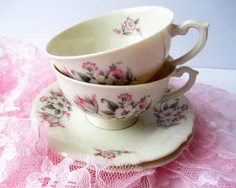 Vintage Aberdeen China Moss Rose Pink Gray Teacups and Saucers Set of Two