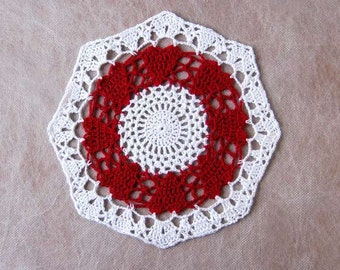 Red Hearts Crochet Lace Doily, Table Accessory, New, Romantic, Love Decor