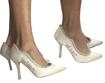 Mrs and Wedding Date Ivory Bridal High Heels,  Pointed Toe 3.75 inch heel - Customized with the Bride's new Last Name