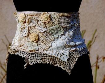 Belt, shabby chic, Jane Austen, vintage lace, steampunk, victorian, bridal, wedding , waist chincker, cream lace, upcycled, floral, filigree