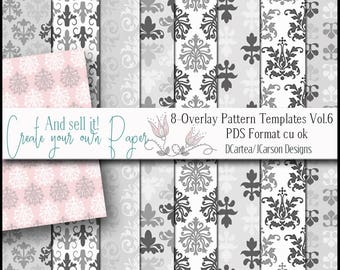 Paper overlay Templates, damask overlay templates, paper making templates,  pattern overlays. digital overlays, download, pds, cu ok