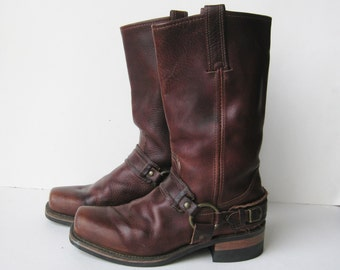 Vintage Boots Frye Brown Leather Square Toe Motorcycle Harness Boots Womens 8 M