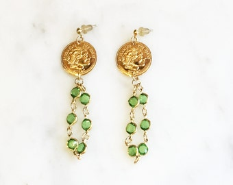 Vintage 90s Green Crystal Dangle Earrings