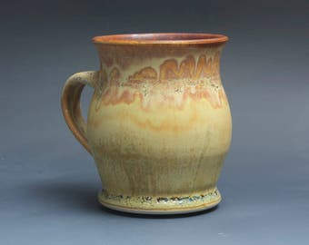 Handmade pottery coffee mug tea cup 16 oz yellow amber tea cup 3889a