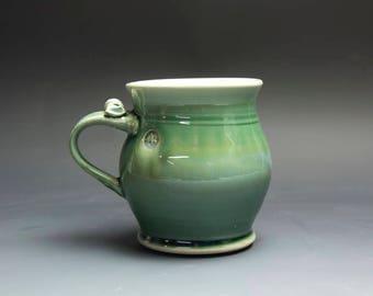 Pottery coffee mug, ceramic mug, stoneware tea cup jade green 16 oz 4007