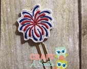 Planner Clip/Bookmark - 4th of July Fireworks Feltie Page Marker For Personal Planners, Calendars, Books, Cookbooks, etc.