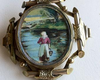 Victorian Swivel Picture Brooch - Original