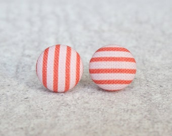 Pink and White Stripes Fabric Button Earrings