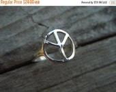 ON SALE Peace sign ring in sterling silver
