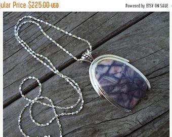 ON SALE Porcelain Jasper and Sterling Silver Necklace