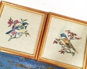 RESERVED FOR MARY Vintage Needlepoints, Chicadee Birds, Vintage Bird Needlepoints, Vintage Framed Bird Needlepoints, Gold Frame, Pair