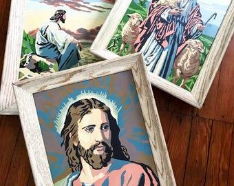 Vintage Jesus Painting, Vintage Paint By Number, PBN, Jesus Portrait Painting, Good Shepherd, Jesus Water, Framed Jesus Painting, Religious