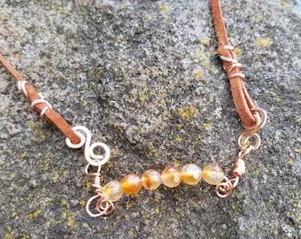 Carnelian and Suede Necklace or Wrap Bracelet