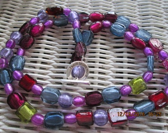 482  Multi color glass handmade beaded necklace