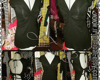 Jezabel Stretch Cotton Short Sleeve  Choli with Tummy Panel (M/L)