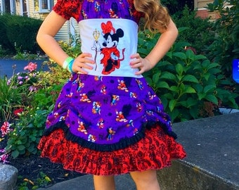 Size 7/8 Devilish Minnie Halloween Snug Fitting Peasant dress with Double layer ruffled skirt