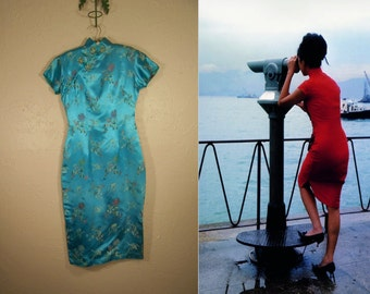 His Little China Girl - Vintage 1960s Turquoise Rayon Chinese Wiggle Mandarin Dress  - 2