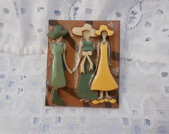 Woman Pins by Lucinda  So Fantastic!  Yellows Greens Hats & Bows