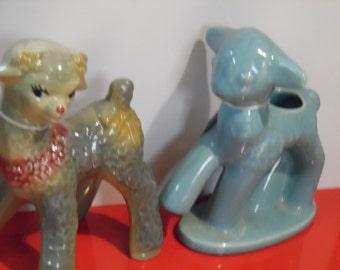Vintage pottery lambs, pottery lambs, vintage lambs, old pottery lamb