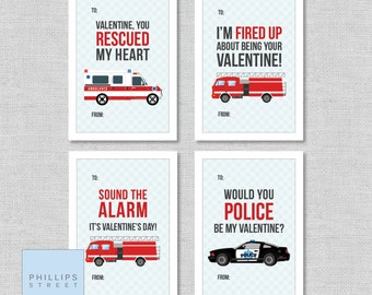 printable emergency vehicle Valentine's Day cards .  classroom valentines  .  children's valentines  .  police car . fire truck . ambulance