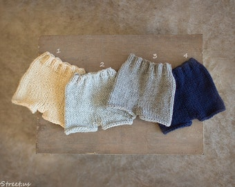Newborn Shorts, Baby Pants, Diaper Cover, Newborn Props, Baby Props, Gray, Off White Pants, RTS, Natural Props, Baby Boy, Baby Girl, Mohair