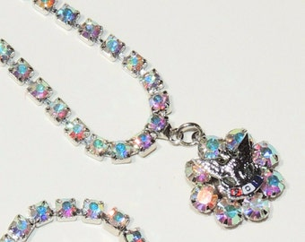 FOB AB Rhinestone Necklace Brilliant Hollywood Blue Purple Pink Vintage Jewelry