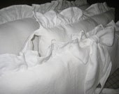 """Balance for Falynn-Mini Crib Bedding in Bright White Washed Linen-Sash Ties-2"""" Ruffled Bumpers-Removable Inserts-Crib Skirt-Fitted Sheets"""