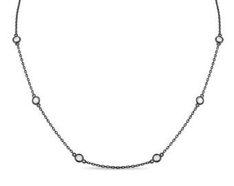 ON SALE 1.00 Carat Diamond By The Yard Necklace 14k Black Gold Vintage Style Fine Bezel Set
