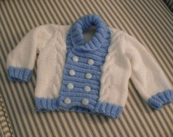 Hand knit boys shawl collar sweater and hat