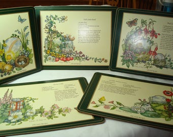 1993 Set of PIMPERNEL Old Irish Recipes on Colorful Sturdy Wood Like Placemats.