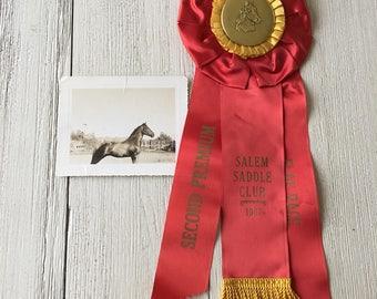 Horse Show Second Premium Prize Ribbon Vintage Award Flag Race