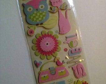 Hello Cutie Chipboard Dimensional Scrapbook Sticker Embellishments from K&Company // Craft Supply 11pcs