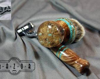 Maple Burl Shaving Kit w/ Turquoise Natural Edge Cast Super Silvertip Badger Hair Brush Graduation Father's Day Gift Wet Shaving Wood Razor