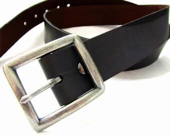 Men's Black Leather Belt San Filippo Leather Signature Belt Nickel or Brass Removable Buckle