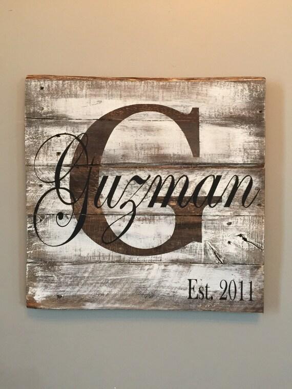 Last Name Sign Wedding Established Monogram