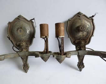 Two  antique Light wall Sconces Gothic Nouveau Medieval Spanish Victorian restoration salvage matching set SalvageRelics