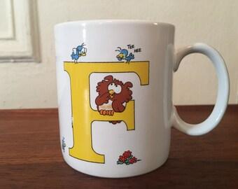 The letter F, vintage 1980s coffee mug - retro, cuppa, tea cup, office, coworker, koala bear, eighties, kitsch