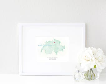 Switzerland Watercolor Map | Destination Map Print | Personalized Watercolor Map | Honeymoon Map | Anniversary Map | Watercolor Wedding Map