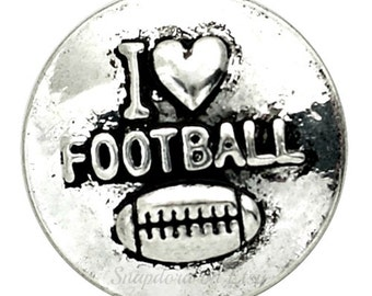"Football Snap Charm for 18-20 mm snap jewelry. ""I Love Football"" 20 mm snap fits Regular sized Ginger Snaps"