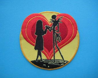Iron-on Embroidered Patch Sally and Jack 3.5 inch