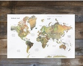 "ON SALE Watercolor World Map, Hand lettered map, fine-art map, large wall map, 24x36"", home decor, explorer map print, gender neutral nurser"