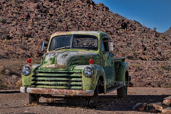 vintage chevrolet truck logo. 1950 chevy truck old photo vintage chevrolet route 66 green large 16 x 24 print man gift side view cave logo