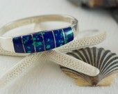 Vintage Mexican Taxco Sterling Silver 925 Hinged Azurite Bangle Bracelet  .....6242