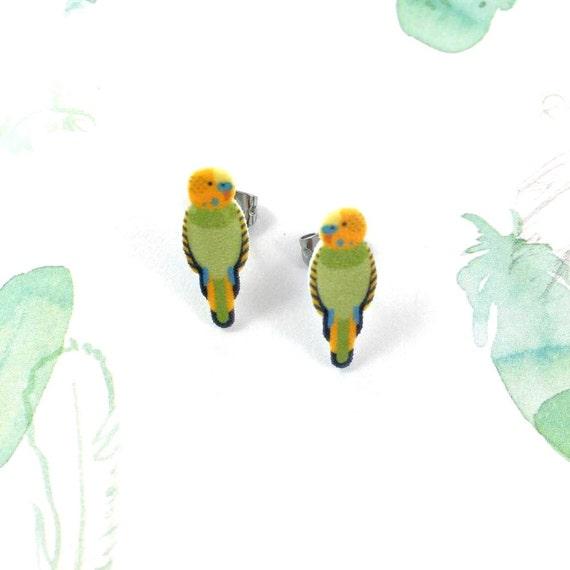 parakeet, green, yellow, bird, earring, domestic bird, print on plastic, shrink plastic earring, stainless stud, handmade, les perles rares